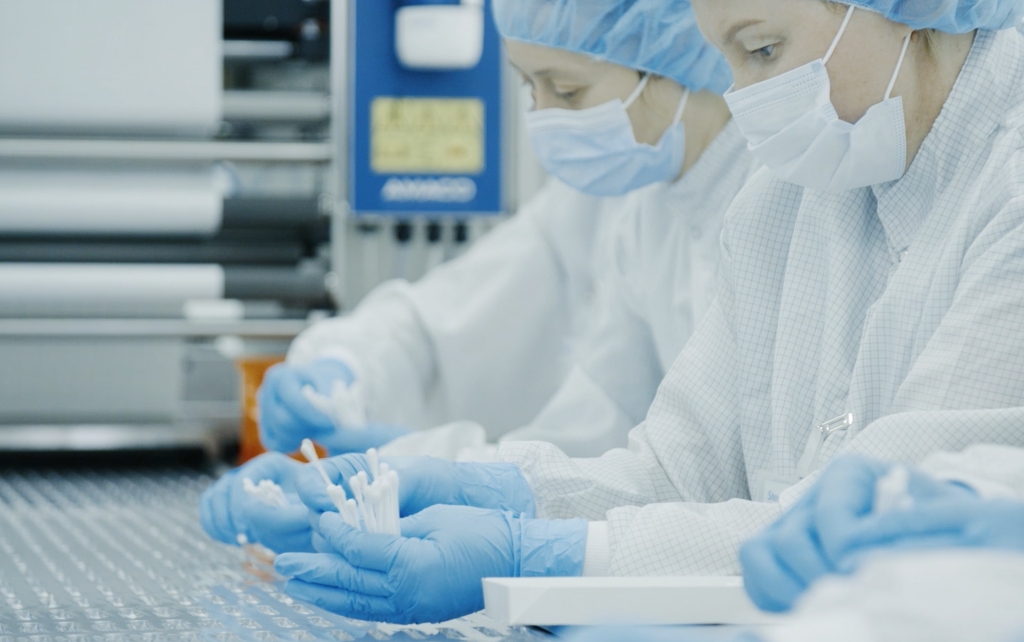 Employees working on swab manufacturing in the United States